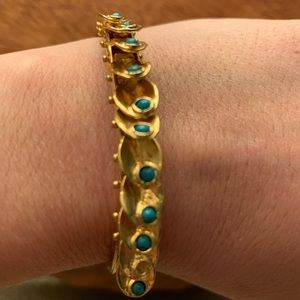 Gold Tone Charm Bangle  with Turquoise Beads